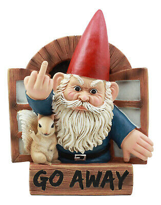 """Go Away"" Gnome And Squirrel Wall Plaque Hanging Statue"