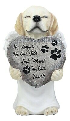 """Forever In Our Heart"" Angel Labrador In White Tunic Pet Memorial Statue"