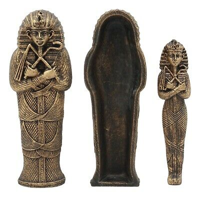 Bronzed Small Ancient Egyptian Pharaoh King Tut Sarcophagus With Mummy Statue