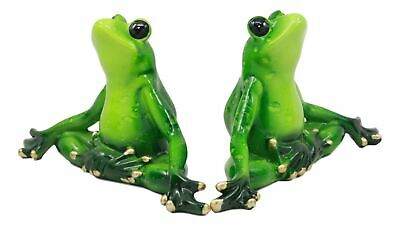 """Meditating Yoga Frogs Statue Buddha Frog Sculpture Set Of Two 6""""Long Figurine"""
