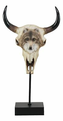 "Large Wolf Spirit Totem On Buffalo Bull Skull With Base Stand Figurine 17.5""Tall"