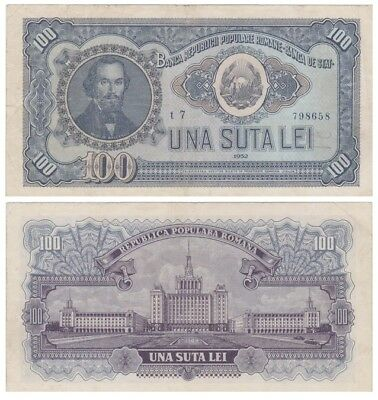 1oo - Una Suta - Lei Romanian banknote issued in 1952 t7 vf