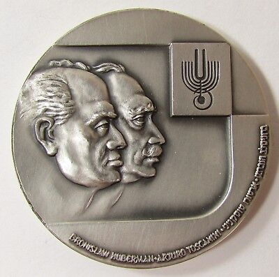"""1966 ISRAEL LARGE SILVER MEDAL """"PHILHARMONIC ORCHESTRA 30th ANN."""" 60mm- 110.8 gr"""