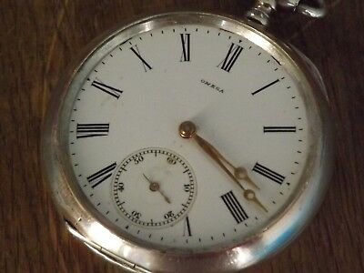 Antique Silver Omega Gents  Pocket Watch  Working