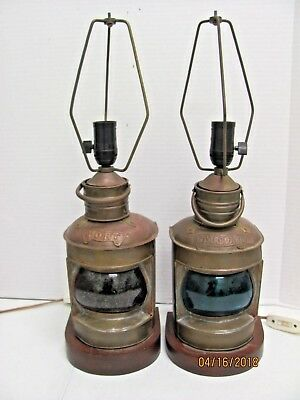Vintage Ship Lanterns Converted to Lamps Port Starboard Metal w Red/Green Glass