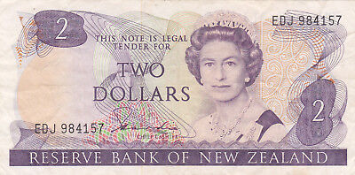 2 Dollars Vf Banknote From New Zealand 1985-89!pick-170