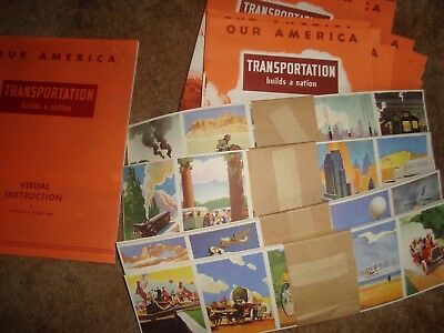 1943 Coca Cola Our America TRANSPORTATION classroom kit with 4 posters 30 pupils