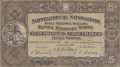 5 Francs Vg Banknote From Switzerland 1951!pick-11
