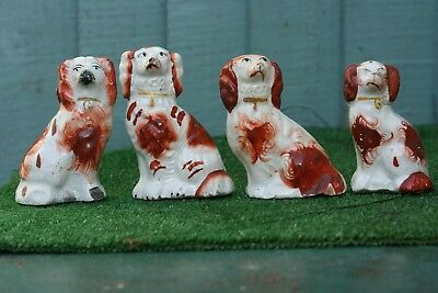 x4 MID 19thC STAFFORDSHIRE MINIATURE RUSSET RED & WHITE SPANIEL DOGS c1860s