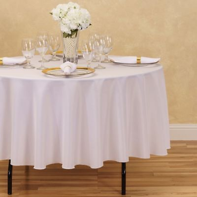 Round Polyester Tablecloth By Linen Tablecloth - 90 Inches  - White - New