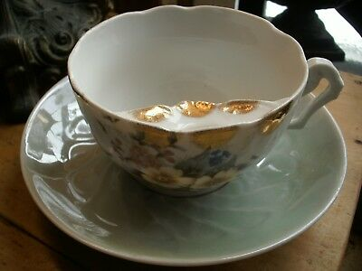 MOUSTACHE CUP & SAUCER OVERSIZED VICTORIAN FLORAL  unmark