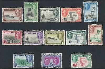 NYASALAND 1945 SET TO 10sh, VF LH OG SG#144-56 (SEE BELOW)