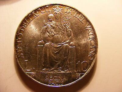Vatican 1936 Silver 10 Lira, Uncirculated - very nice with light gold tone edge