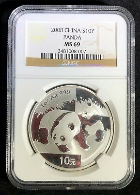 2008 China Silver 10Y Panda ~ NGC Graded MS 69