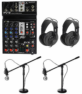 Podcasting Podcast Recording Bundle w/Peavey Mixer+(2) Headphones+(2) Mic+Stands