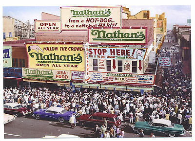 BEST 1950s NATHAN'S FAMOUS Coney Island Hot Dogs Brooklyn NYC Modern Post Card !