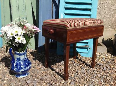 Antique Victorian Piano Stool Rise And Fall Upholstered Stunning Mahogany Chic