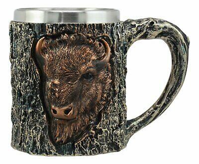 Bronze Bison Coffee Mug In Realistic Tree Bark Body 12oz Capacity Stein Cup