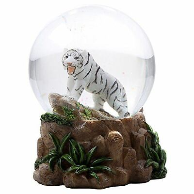 Wildlife Animal White Tiger Water Globe Collectible Water Ball Home Decorative
