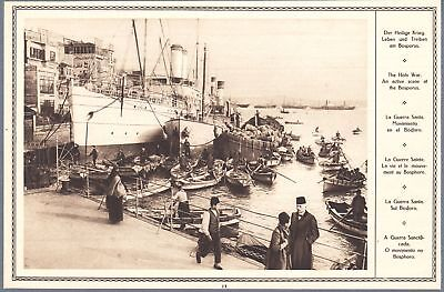 1915 Print WW I Photo Istambul Turkey Bosporus Port Docks Ships Boats City View