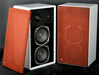 Pair Braun (ADS) L710 Speakers Loudspeakers White Cabinets 4 Ohm West Germany