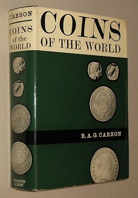 COINS OF THE WORLD by Carson 1966 HC DJ History of Currency Vintage Money 642 pp
