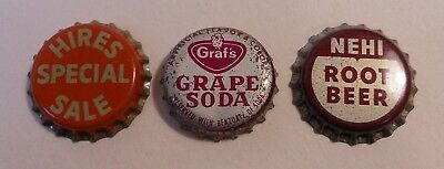 3 Vintage Hires, NEHI, Grafs..cork..unused..Soda Bottle Caps
