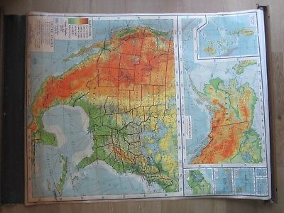 VTG 1948 A.J. Nystrom School Pull Down MAP US United States Alaska Mexico POSTER