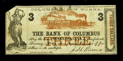 1862 Columbus Iron Works at The Bank of Columbus, GA $3 Note - F+/VF