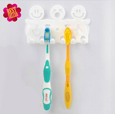 Toothpaste Toothbrush Holder Wall Mount Hanger Home Bathroom Suction 5 Position