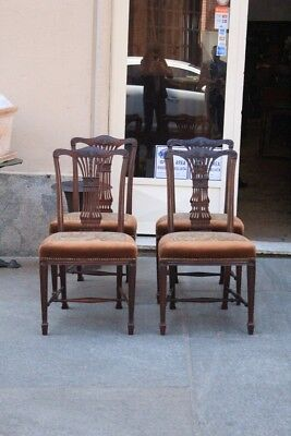 Group Of 4 Chairs Wooden Mahogany, Period Nineteenth Century / Mahogany