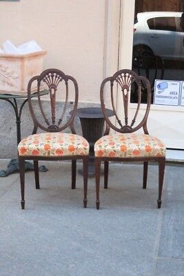 Pair Of Chairs Georgia (Country),wooden Mahogany,inglesi,period