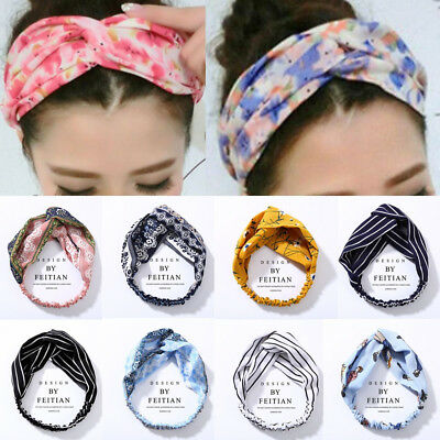 Women Yoga Elastic Headband Colorful Floral Hair Band Turban Twisted Knotted
