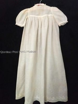 ANTIQUE VICTORIAN BABY CHRISTENING GOWN w LACE 27 INCHES  HANDMADE VINTAGE