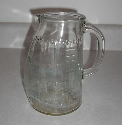 Vintage Glasco USA Belly Bump Measuring Pitcher, Glass  4 Cup