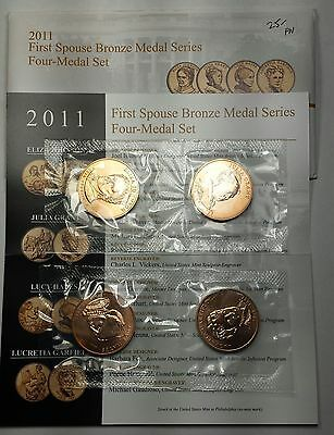 2011 U.S. Mint First Spouse Bronze 4 medal set OGP