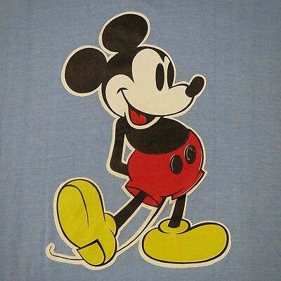 MICKEY MOUSE - VINTAGE 80s T-SHIRT - LARGE L  - 50/50 - SCREEN STARS BLUE TAG