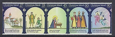 Christmas Island 1985 Christmas Strip Of 5 Fine Mint Mnh/muh