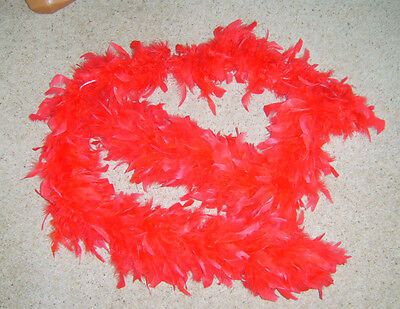 RED FEATHER BOA BURLESQUE 1920s DANCE HEN NIGHT FANCY DRESS COSTUME USED