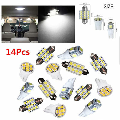 14Pcs White LED Interior Package Kit For T10&31mm Map Dome License Plate Lights