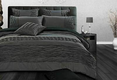 Super King / Queen size Cecilio Quilt Cover set Cross Pintuck Grey Duvet Cover /