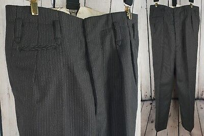 Vtg 1940s 1950s Button Fly High Waist Striped Wool Trousers  W29 L24 GB44