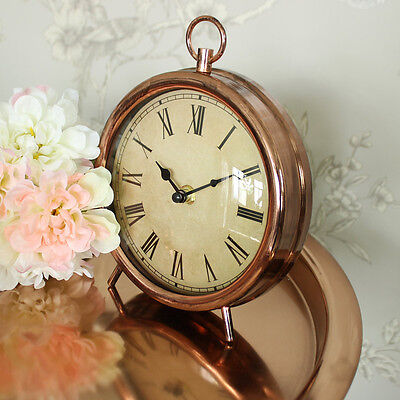 Antique style copper mantel desk shelf clock shabby vintage chic home gift