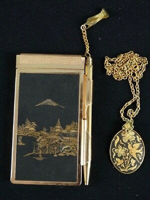 Vintage Japanese Black & Gold Relief Carved Mini Memo & Womens Pendant Necklace