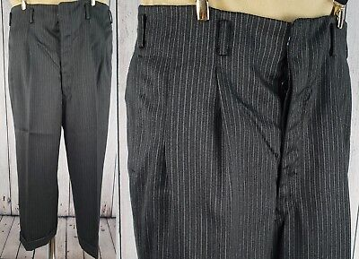 Vtg 1940s 1950s Button Fly Striped Wool Trousers Turn Ups  W34 L22 GB46