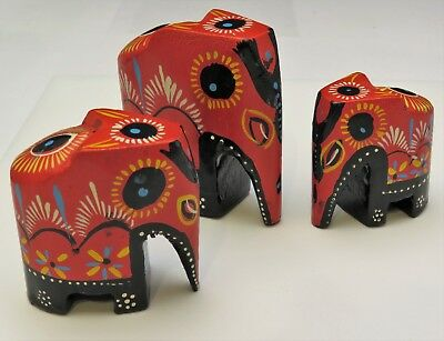 Three Carved Hand Painted Red & Black Lacquer Asian Elephant Train Knick Knacks