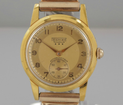 Vintage Pontiac Nageur Wristwatch Stainless Steel, Gold Plated