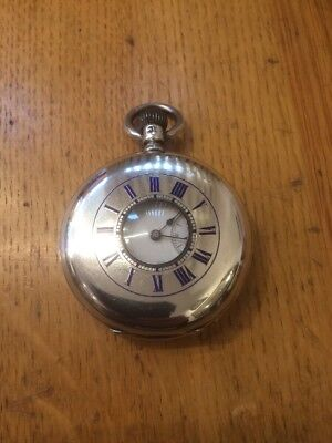 A Superb SOLID SILVER ANTIQUE J W BENSON HALF HUNTER POCKET WATCH London 1884