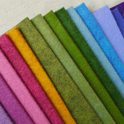 Woolfelt ~ 22cm x 90cm ~ Meadow / wool blend felt fabric pink green heathered
