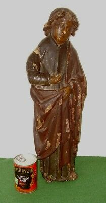 ANTIQUE CARVED WOODEN FIGURE LARGE 2 FOOT TALL SAINT POLYCHROME PAINTED c 1700s